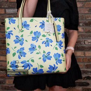 Kate Spade Jana Garden Toss Tote YELLOW Blue BAG